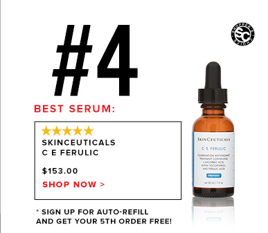 #4 Best Serum: Skinceuticals C E Ferulic$153Shop Now >>* Sign up for Auto-Refill and get your 5th order free!