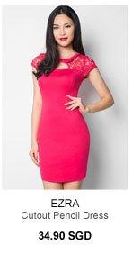 EZRA Lace Mix Cutout Pencil Dress