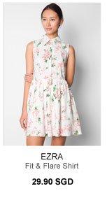 EZRA Fit & Flare Shirt Dress