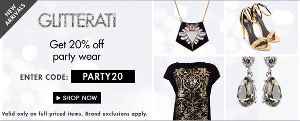 Glitterati get 20% off party styles