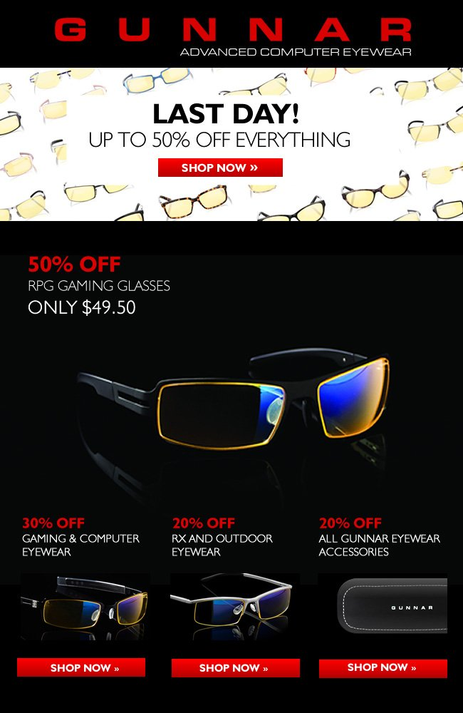 Last Chance! 50% off RPG Eyewear Today Only. All Eyewear and Accessories Also on Sale!