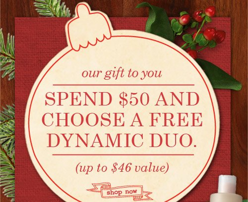 our gift to you SPEND 50 DOLLARS AND CHOOSE A FREE DYNAMIC DUO up to 46 dollars value SHOP NOW