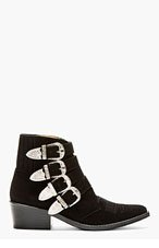 TOGA PULLA Black Suede Western Buckle Ankle Boot for women