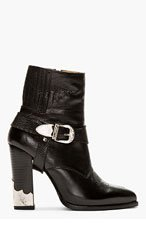 TOGA PULLA Black Leather Croc-Embossed Ankle Boot for women