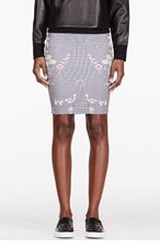 MCQ ALEXANDER MCQUEEN Black & White Houndstooth Stretch Skirt for women