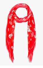 ALEXANDER MCQUEEN Coral Red Skull Scarf for women