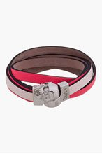 ALEXANDER MCQUEEN Coral leather layered DOUBLE WRAP SKULL bracelet for women