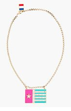 LANVIN Brass & Crystal Flag Pendant necklace for women