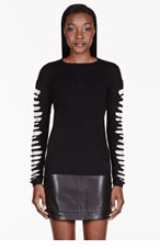 MCQ ALEXANDER MCQUEEN Black Slashed Knit Sweater for women