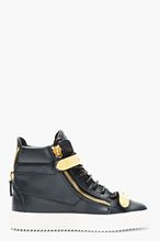 GIUSEPPE ZANOTTI Navy Leather Maylon High-Top Sneakers for women