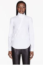 MCQ ALEXANDER MCQUEEN White Angled Button Placket Historical Blouse for women