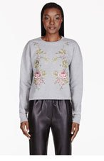 MCQ ALEXANDER MCQUEEN Heathered Grey Embroidered Rose Sweater for women
