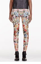 ALEXANDER MCQUEEN Pink & Green Floral Embroidery Print Legging for women