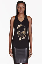 ALEXANDER MCQUEEN Black Embellished Abstract Skull Tank Top for women