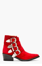 TOGA PULLA Red Suede Western Buckle Boot for women
