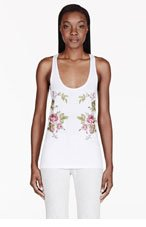 MCQ ALEXANDER MCQUEEN White Embroidered Rose Tank Top for women