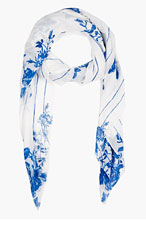 MCQ ALEXANDER MCQUEEN White & Blue Floral Scarf for women