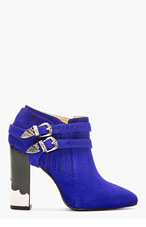 TOGA PULLA Blue Suede Western Buckle Ankle Boots for women