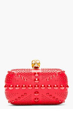 ALEXANDER MCQUEEN Red Studded Skull Britania box clutch for women