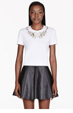 ALEXANDER MCQUEEN White embroidered crystal yoke t-shirt for women