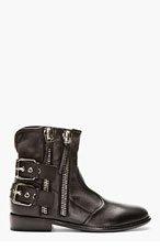 GIUSEPPE ZANOTTI Black Leather Buckle Boots for men