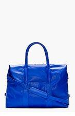 MAISON MARTIN MARGIELA Royal Blue Leather Duffle Bag for men