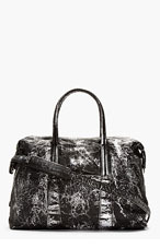 MAISON MARTIN MARGIELA Black Cracked Metallic Duffle Bag for men