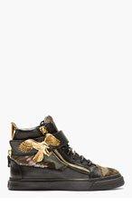 GIUSEPPE ZANOTTI Black Calf-Hair Eagle High-Top Sneakers for men