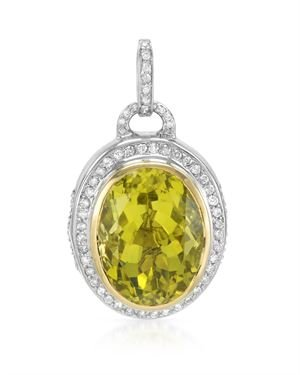 HELLMUTH Gold And Sterling Silver Pendant with 17.42 CTW