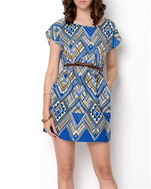 CL22 Belted Print Dress- Made in USA