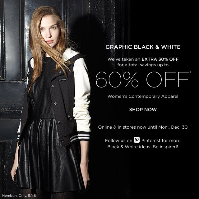 Up to 60% off Contemporary Apparel