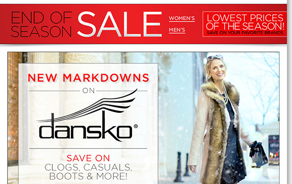 Find new markdowns on Dansko shoes, boots and clogs with FREE Shipping! Plus, save on great styles from UGG® Australia, ABEO, ECCO and more during our End of Season Sale! Shop now for the best selection online and in stores at The Walking Company.