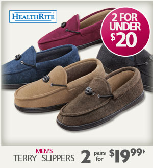 Terry Slippers 2 pairs for $19.99