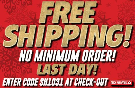 Sportsman's Guide's Free Standard Shipping on Your Merchandise Order - No Minimum Order! Enter Coupon Code SH1031 at checkout. Offer Expires Tonight, 12/29/2013.