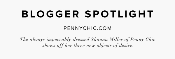 Blogger Spotlight The always impeccably-dressed Shauna Miller of Penny Chic shows off her three new objects of desire.
