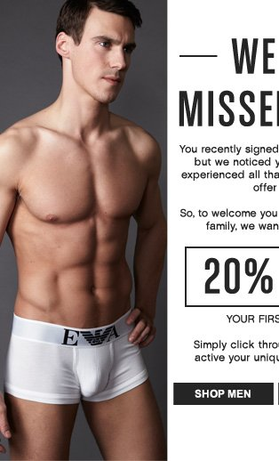 We Missed You - 20% Off Your First Order!
