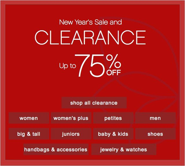 New Year's Sale and Clearance up to 75% off