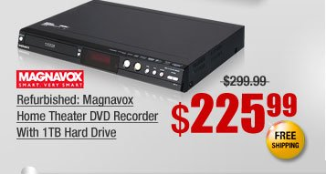 Refurbished: Magnavox Home Theater DVD Recorder With 1TB Hard Drive