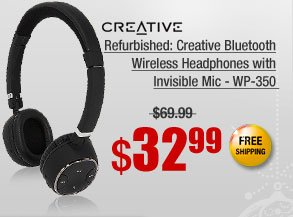 Refurbished: Creative Bluetooth Wireless Headphones with Invisible Mic - WP-350
