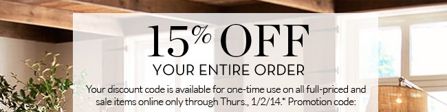 15% OFF your entire order