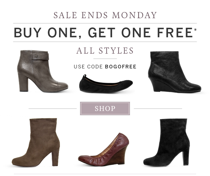 Sale ends Monday. Buy one, get one free - All Styles - Use code BOGOFREE
