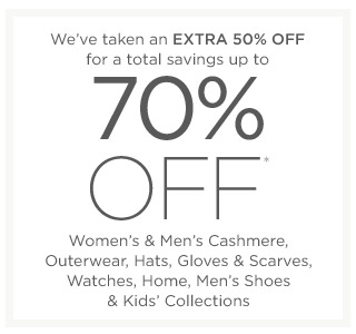 Up to 70% off Women's & Men's Cashmere & more