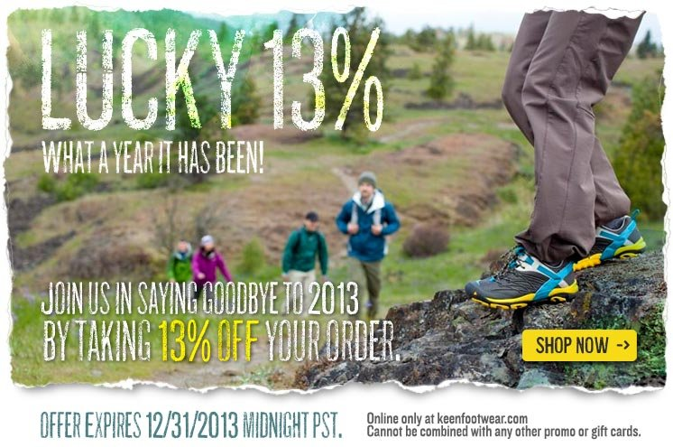 Say Goodbye to 2013 with 13% OFF Your Online Order