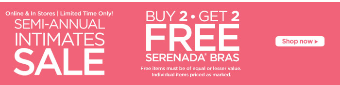 Buy 2, Get 2 Free select bras!