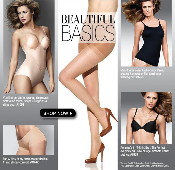 Beautiful Basics: Comfort Devotion Body Briefer, Basic Hosiery, Slimming Camis, Flirty Panty, America's #1 T-Shirt Bra