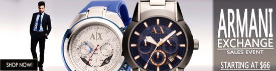 Save up to 37% during the Armani Exchange Watches sales event