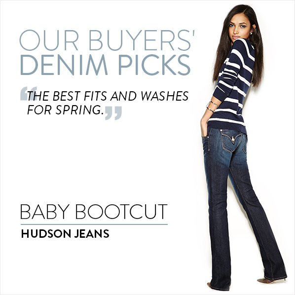 """OUR BUYERS' DENIM PICKS - """"THE BEST FITS AND WASHES FOR SPRING."""" SKINNY - 7 FOR ALL MANKIND"""
