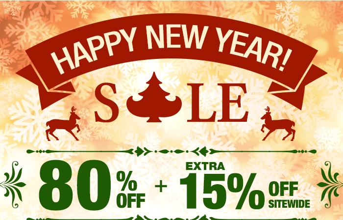 Happy New Year Sale 80% OFF + Extra 15% OFF SitewidePlus Free Shipping