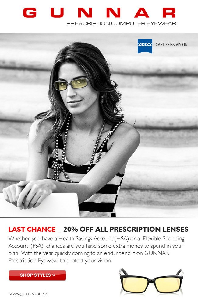 Last Chance! Save 20% on Prescription Eyewear and submit them for 2013 reimbursement