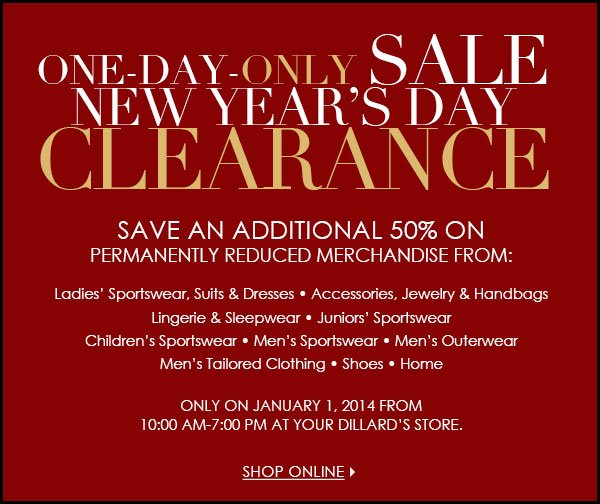 One Day ONLY-New Year's Day Sale